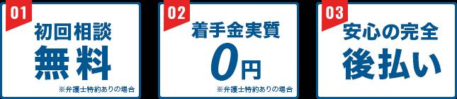 初回相談無料。着手金原則0円。安心の完全後払い。